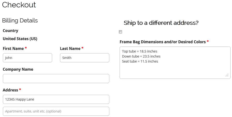 sample checkout dimensions